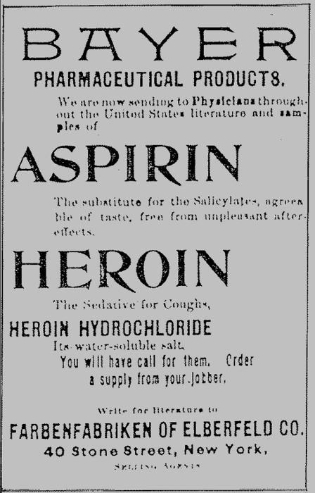 Heroin Werbung von Bayer USA